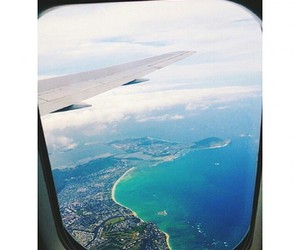 sea, travel, and airplane image
