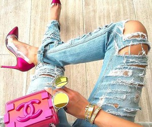 jeans, summer, and pink image