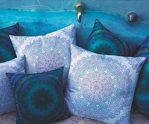 blue, pillows, and bed image