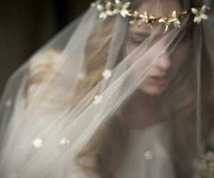 girl, veil, and wedding image