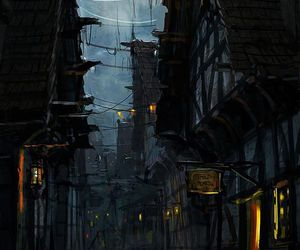 alley, mysterious, and night image