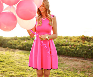 dress, pink, and balloons image