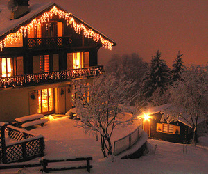 chalet, christmas lights, and cottage image
