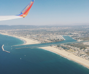 airplane, beach, and Flying image