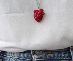 heart, necklace, and red image