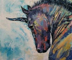 art, canvas, and unicorn image