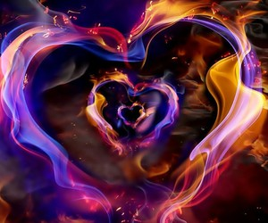 colors, fire, and hearts image
