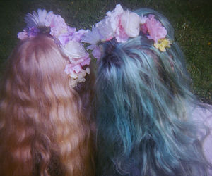 grunge, flowers, and hair image