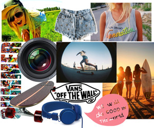 camera, girls, and longboard image