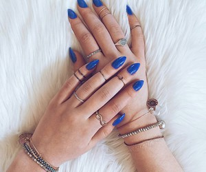 blue nails, gold rings, and silver rings image