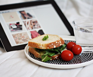 food, water, and ipad image