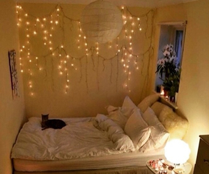 bed, light, and tumblr image