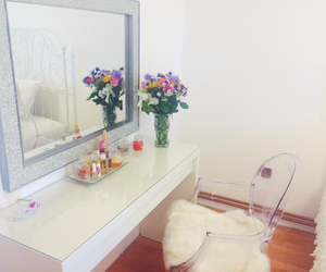 bedroom, spring, and white image