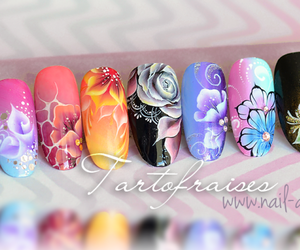blue, flowers, and nail art image