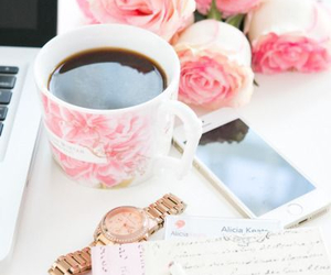 coffee, pink, and rose image