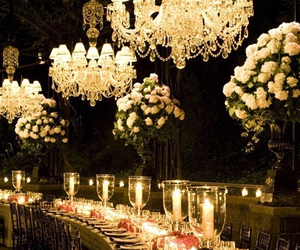 flowers, wedding, and lights image