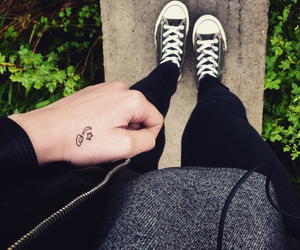 converse, girl, and hand image