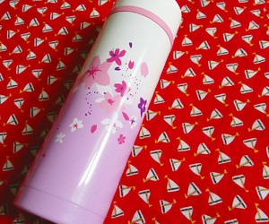 cherry blossoms, tumbler, and pink image