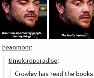 crowley, spn, and supernatural image