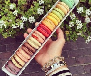 food, colors, and macarons image