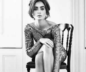 lily collins, actress, and black and white image