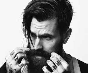 tattoo, beard, and black and white image