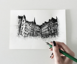 architecture, black, and drawing image