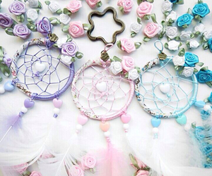 dream catcher, feathers, and pastel image