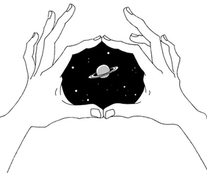 space, hands, and art image