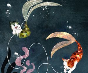 cat, mermaid, and art image