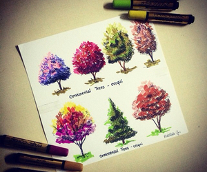 colours, drawing, and trees image