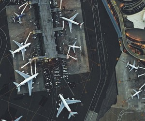 airport, travel, and airplane image