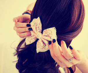 hair, bow, and nails image
