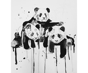 panda, art, and black image