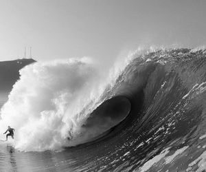 black and white, nature, and surf image