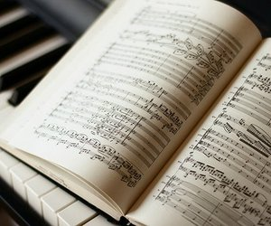 music, piano, and book image