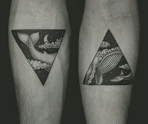tattoo, whale, and triangle image