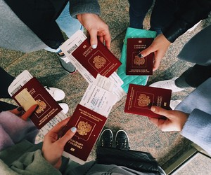 travel, friends, and passport image