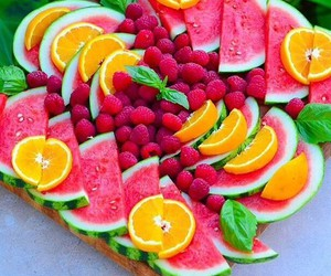 food, orange, and watermelon image