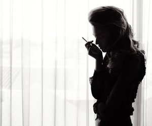 black and white, cigarette, and model image