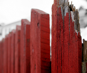 broken, fence, and red image