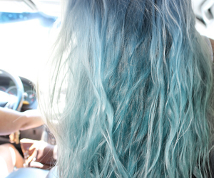 blue hair, curly hair, and style image