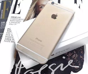 iphone, gold, and magazine image