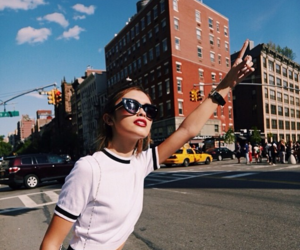 girl, city, and sunglasses image