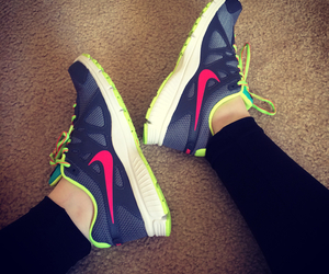 exercise, nike, and running shoes image
