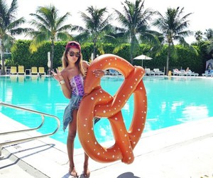 summer, pool, and pretzel image