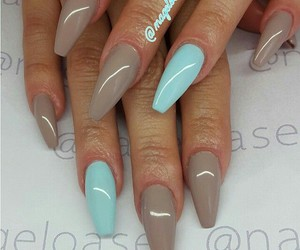 nails, blue, and brown image