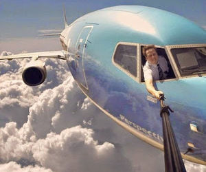 selfie, sky, and plane image