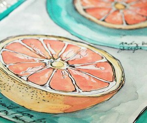 art, orange, and fruit image
