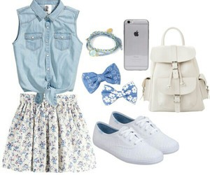 floral skirt, Polyvore, and spring image